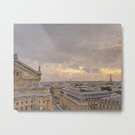 Paris Rooftops at Sunset Metal Print