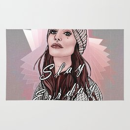 Slay Errday Tuff Girl Illustration Rug