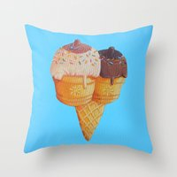 tits Throw Pillows featuring Sugar Tits by Strange Food