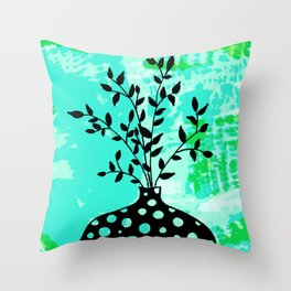 Plant in vase with dots Throw Pillow