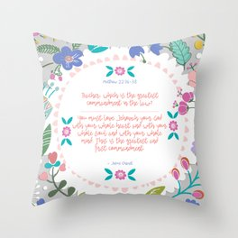The Greatest Commandment | Matthew 22:36-38 Throw Pillow