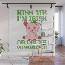 St Patricks Day Pig Irish Drinking Team Gift Wall Mural