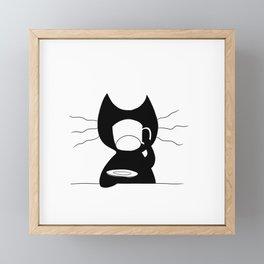 Cat drinking coffee Framed Mini Art Print