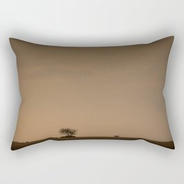 Lone wildebeest grazing in South Africa at sunset Rectangular Pillow
