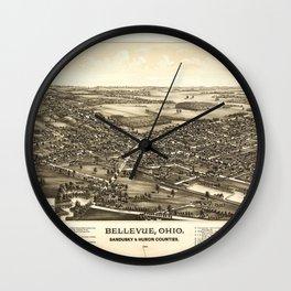 Aerial View of Bellevue Ohio Sandusky & Huron counties (1888) Wall Clock