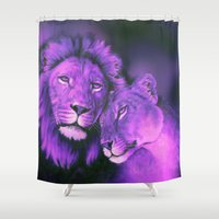 lions Shower Curtains featuring Lions Purple by Moody Muse