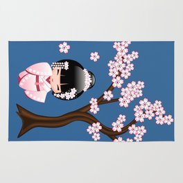 Japanese Bride Kokeshi Doll Rug