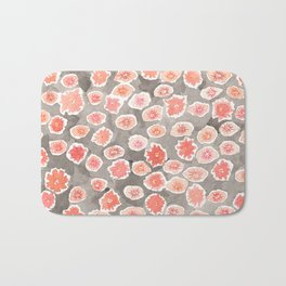Watercolor flowers pink and gray by robayre Bath Mat