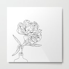 Black line illustrated Peony Flower Metal Print