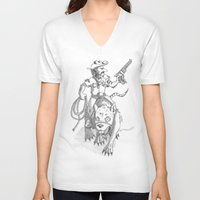 western V-neck T-shirts featuring western rat by kasowy