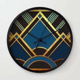 Art Deco New Tomorrow In Blue Wall Clock
