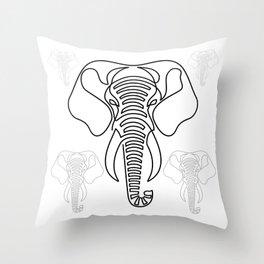 Minimalist Elephant (black on white) Throw Pillow