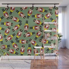 Small Nutcracker Christmas pattern green Wall Mural