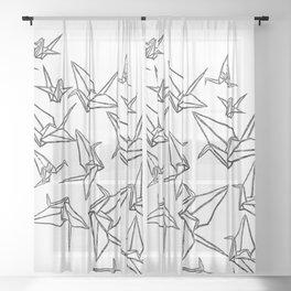 Origami Cranes Linocut Sheer Curtain