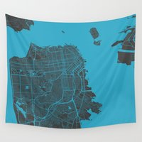 san francisco Wall Tapestries featuring San Francisco by Map Map Maps