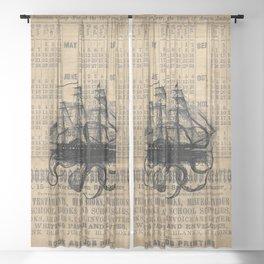 Octopus Kraken attacking Ship Antique Almanac Paper Sheer Curtain