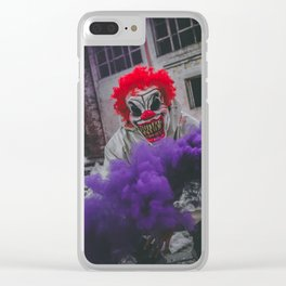 Halloween Scary Clown (Color) Clear iPhone Case