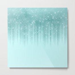 Glam Mint Green Aqua Glitter Striped Gradient Metal Print
