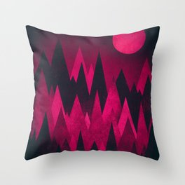 Dark Triangles (Peak Woods) Abstract Grunge Mountains Design (red/black) Throw Pillow