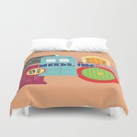 monster inc Duvet Covers featuring Nerds Inc by Lacey Simpson