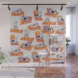Orange Yoga Pigs - Downward Facing Hog Wall Mural