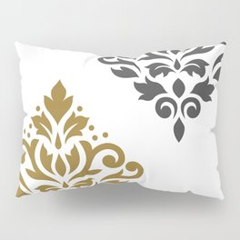 Scroll Damask Art I Gold & Grey on White Pillow Sham