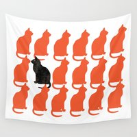 contemporary Wall Tapestries featuring CATTERN SERIES 2 by Catspaws