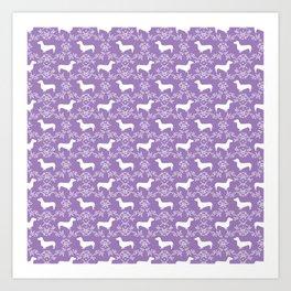 Dachshund purple florals pet portrait dog art dachsie doxie pet art dog breeds Art Print