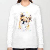 chihuahua Long Sleeve T-shirts featuring Chihuahua by Slaveika Aladjova
