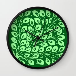William de Morgan Leaf Pattern, Emerald  Green Wall Clock
