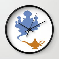aladdin Wall Clocks featuring Aladdin (no title) by Citron Vert