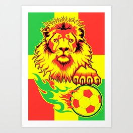 African Soccer Lion Art Print
