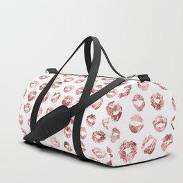 Girly Fashion Lips Rose Gold Lipstick Pattern Duffle Bag