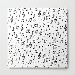 Music notes in black and white Metal Print