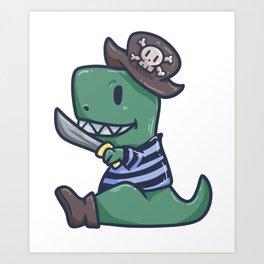 Pirate Dinosaur T-Rex Skull Captain Gift Art Print