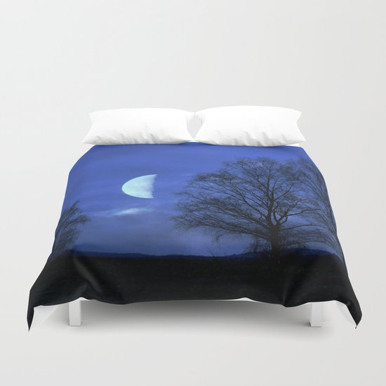 Moon between Trees  - JUSTART © Duvet Cover