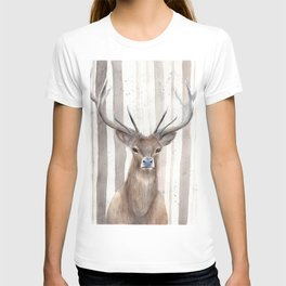 """Watercolor Painting of Picture """"Deer in Winter Forest"""" T-shirt"""