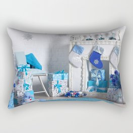 Christmas interior in blue color. Christmas tree with fireplace, Christmas holiday and New Year back Rectangular Pillow