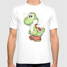 Yoshi Watercolor Mario White SMALL Mens Fitted Tee