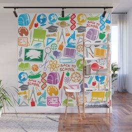education and school icons background (seamless pattern) Wall Mural