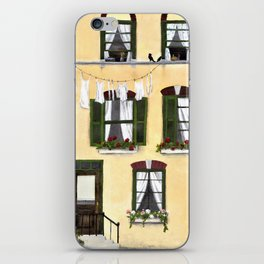 European Apartment, Clothes line, Green Shutter, Birds and Berry Studio iPhone Skin