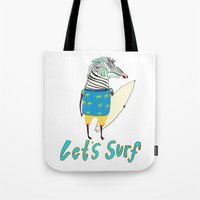 surfboard Tote Bags featuring Surfer, surfing, surfboard,  by Ashley Percival illustration