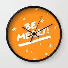 Bright Orange Be Merry Christmas Snowflakes Wall Clock
