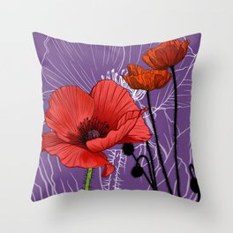 Poppy - Birth Month Flower for August Throw Pillow