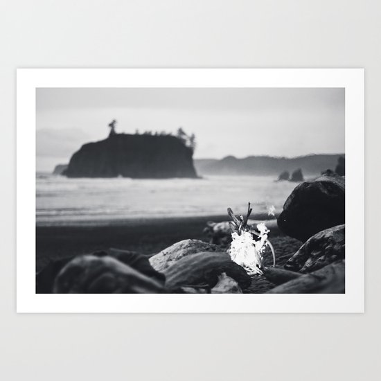 beach fire Art Print