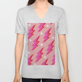Barbie Pink and White Lightning and Stars Unisex V-Neck