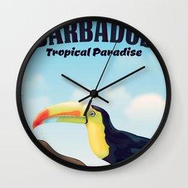 Barbados Tropical vintage Paradise travel poster Wall Clock