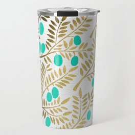Gold & Turquoise Olive Branches Travel Mug