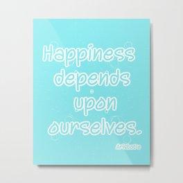 Aqua Aristotle Happiness quote typography Metal Print