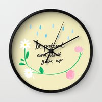 motivational Wall Clocks featuring Motivational thoughts by Saskdraws